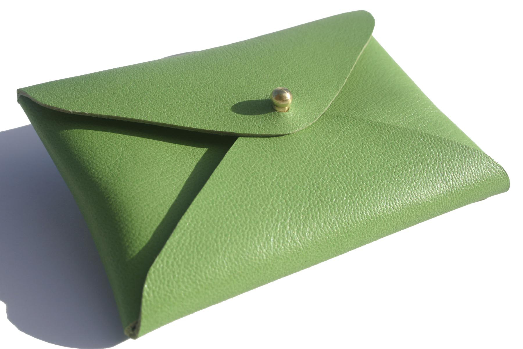 Green Leather Business Card Holder