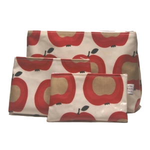 Set of Apple print PVC Bags
