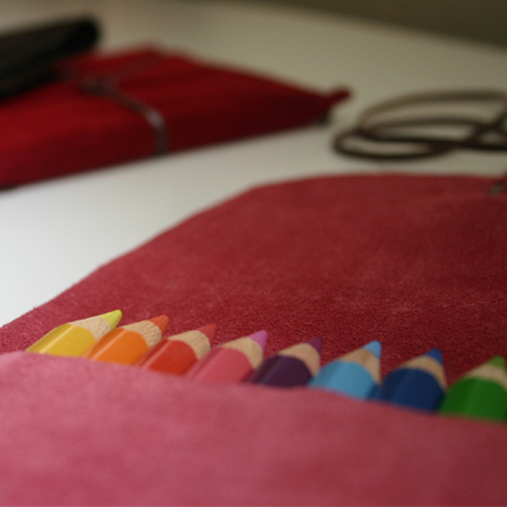 Pink Suede Pencil Pouch