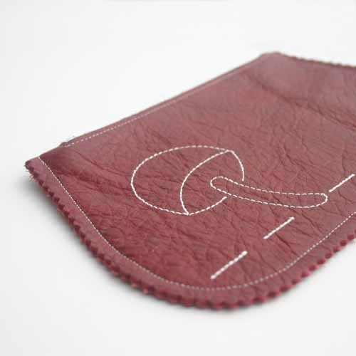 Red Leather Embroidered Purse from Little Black Duck