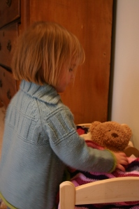 One Happy Little Girl with her teddy and mini ripple blanket