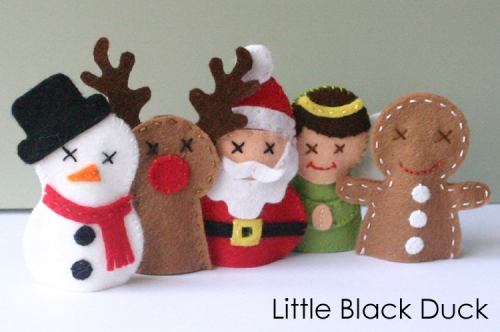 Christmas Friends Finger Puppets Sewing Pattern