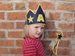 Felt Star Crown and Wand Front View