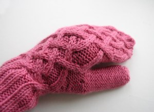 Cable mitten on hand