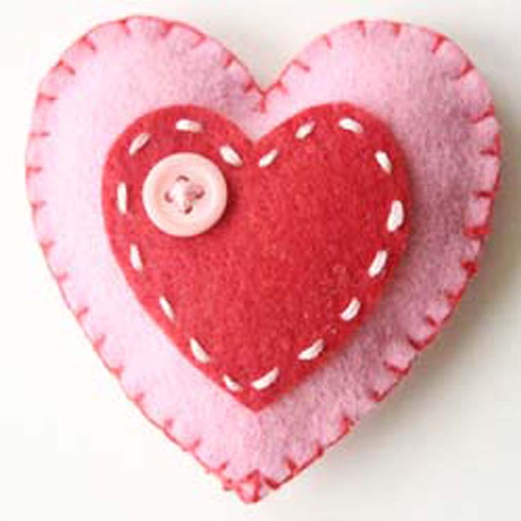 Padded Felt Heart with button