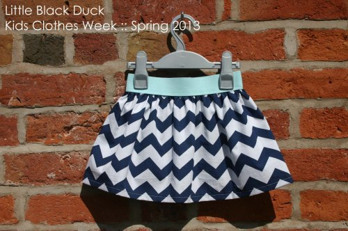 KCW blue chevron skirt with self dyed elastic