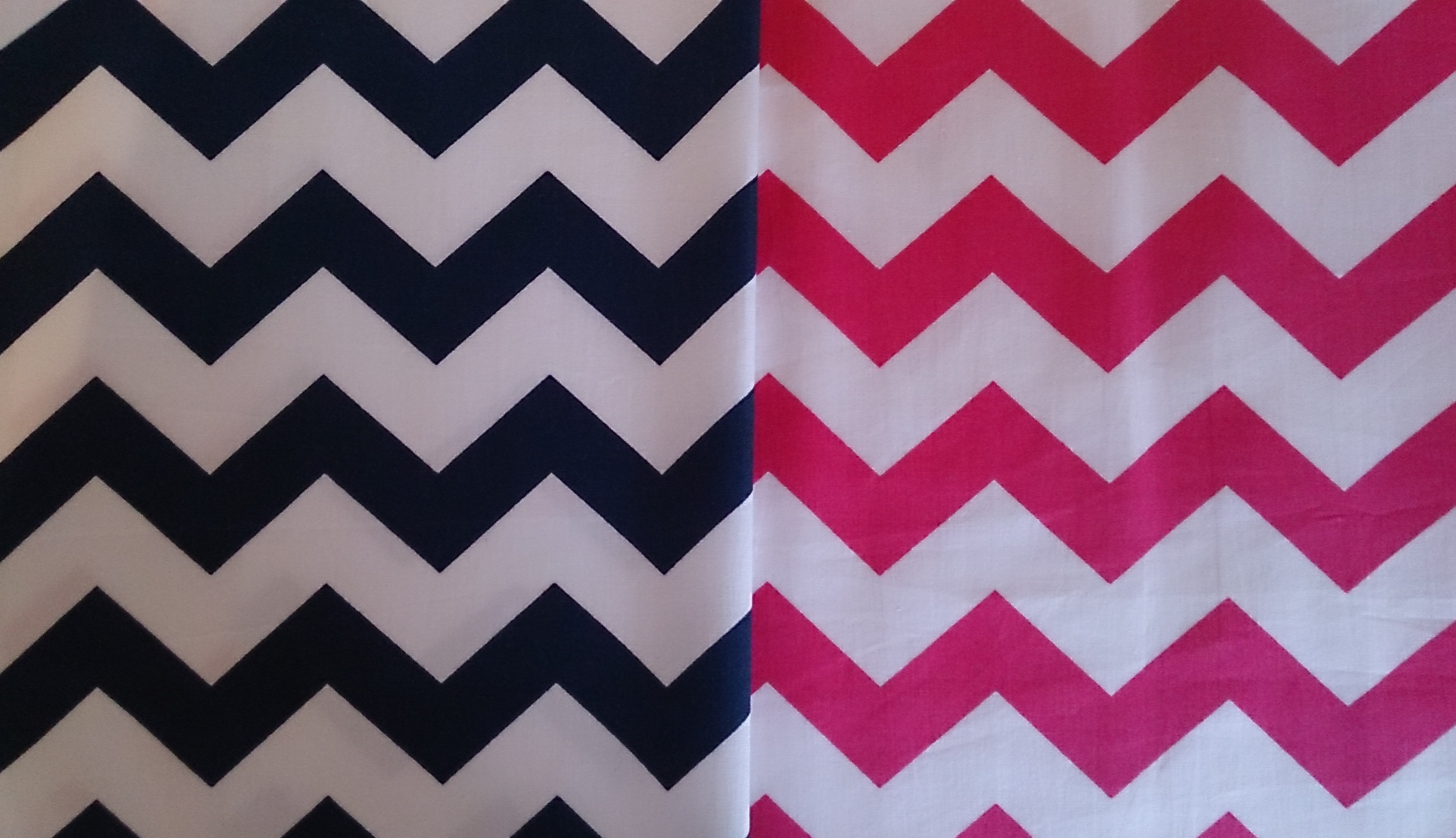 Chevron fabrics in Navy and Pink