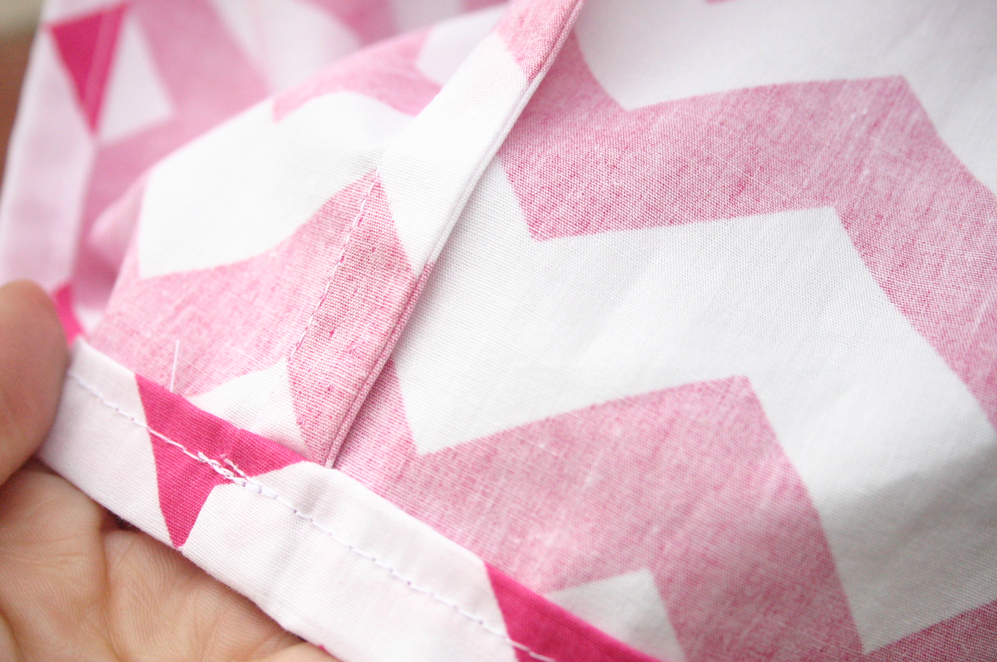 Pink Chevron Skirt with french seams