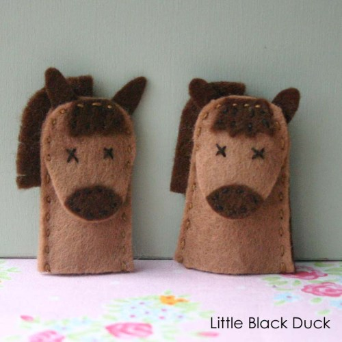 Horse Before and After Felt Finger Puppet