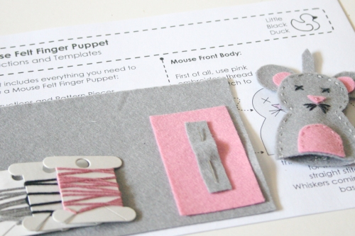 Mouse Finger Puppet Kit Contents