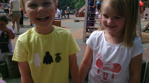 Sam and charlotte in t-shirts