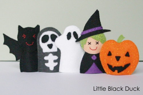 Halloween Friends Felt Finger Puppet Sewing Pattern