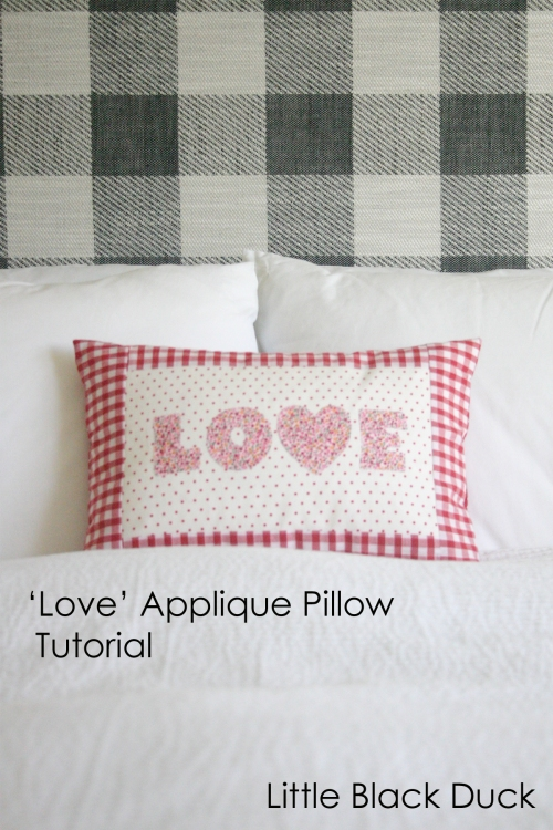 Love applique pillow white
