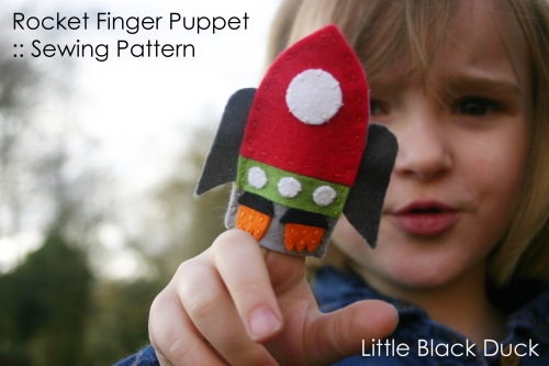 Rocket Finger Puppet Sewing Pattern